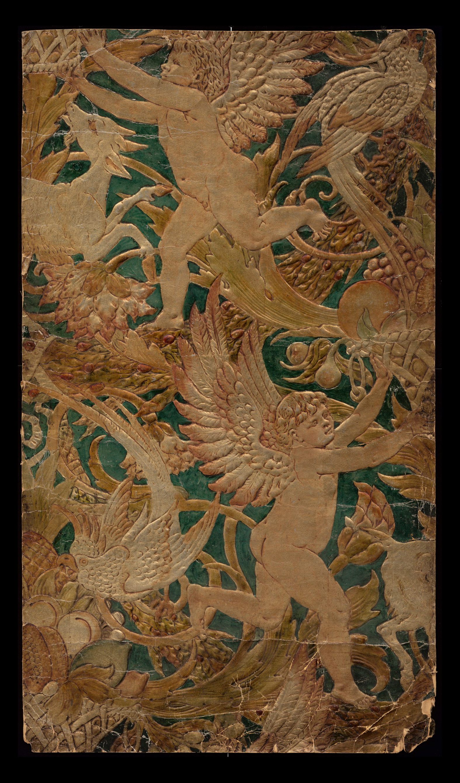 embossed pasteboard simulating leather, with coloured lacquer, painted by Crane, 89 x 50.8 cm. Victoria and Albert Museum, London