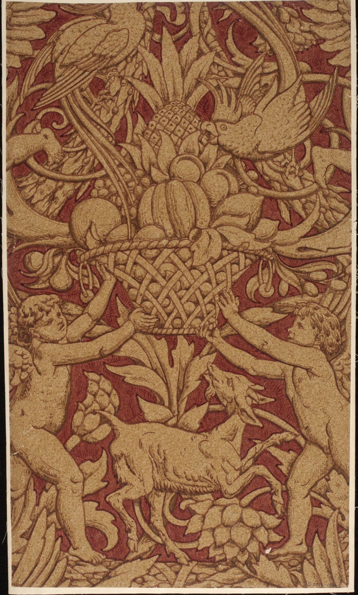 colour woodblock print on paper in red colourway, 85.1 x 49.2 cm. Victoria and Albert Museum, London