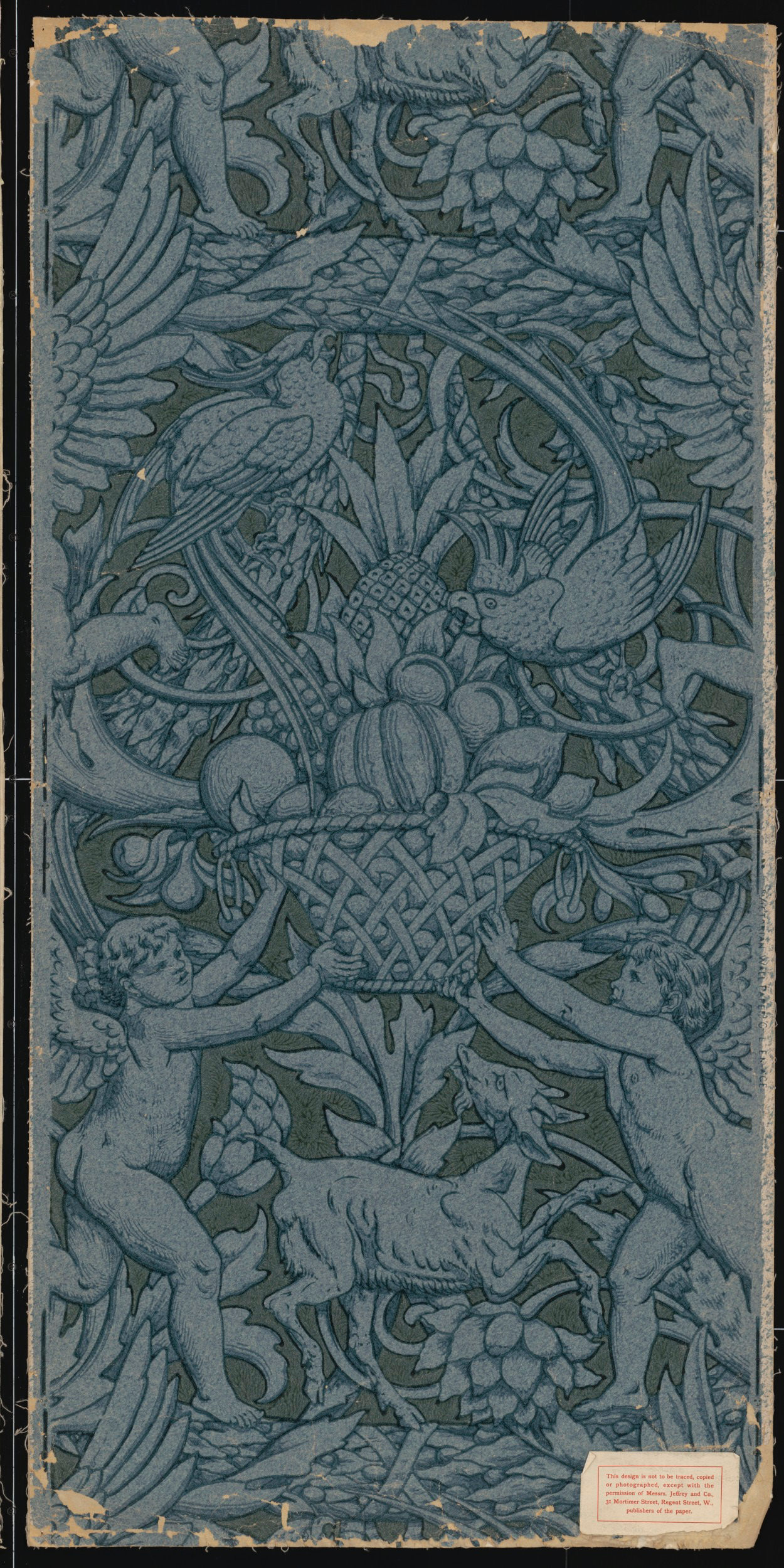 colour woodblock print on paper in blue colourway, 116.9 x 54 cm. Victoria and Albert Museum, London