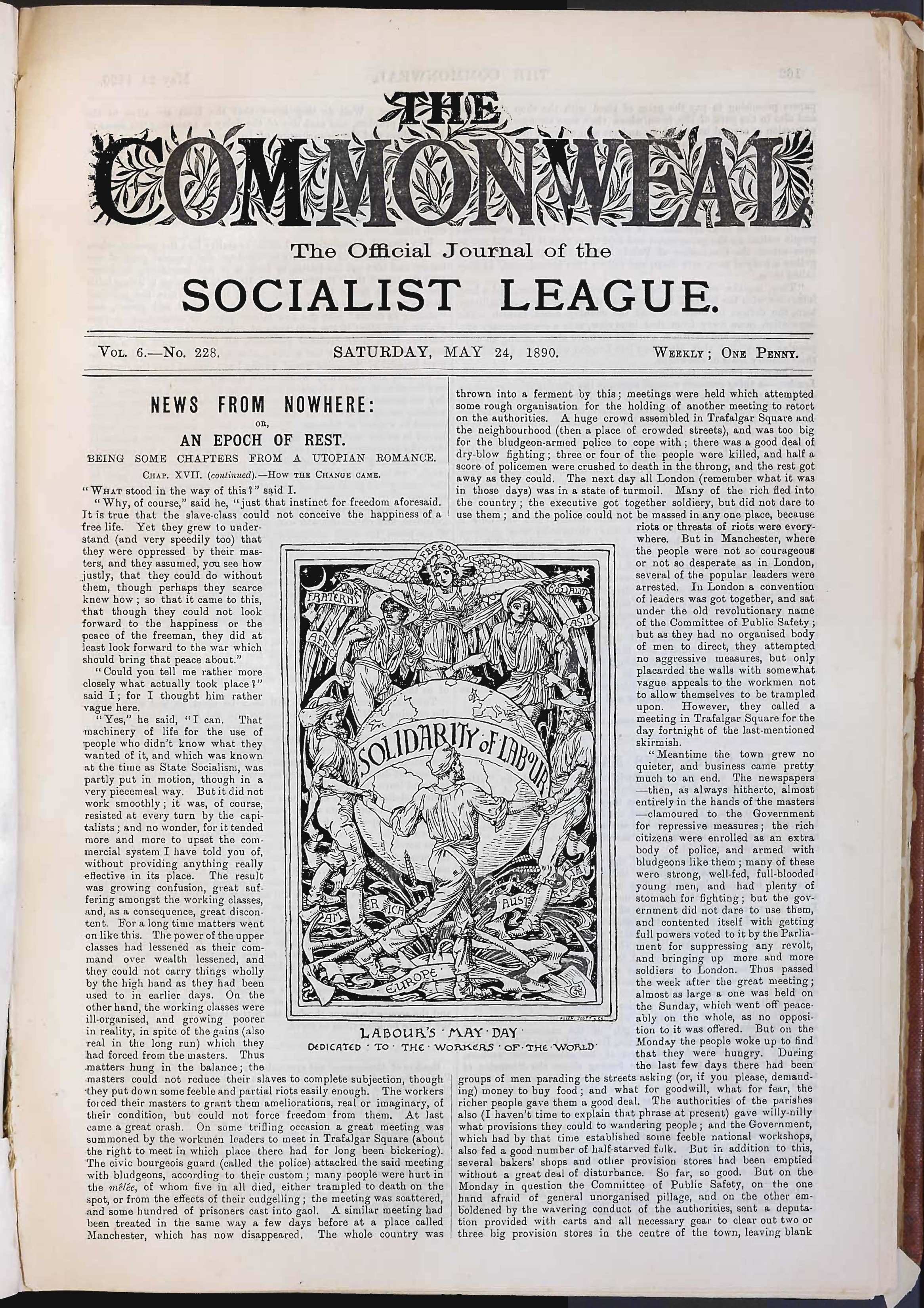 "front page featuring Walter Crane's ""Solidarity of Labour: Labour's May Day, dedicated to the workers of the world"", 1890, 15 x 31 cm. Labadie Collection, University of Michigan"