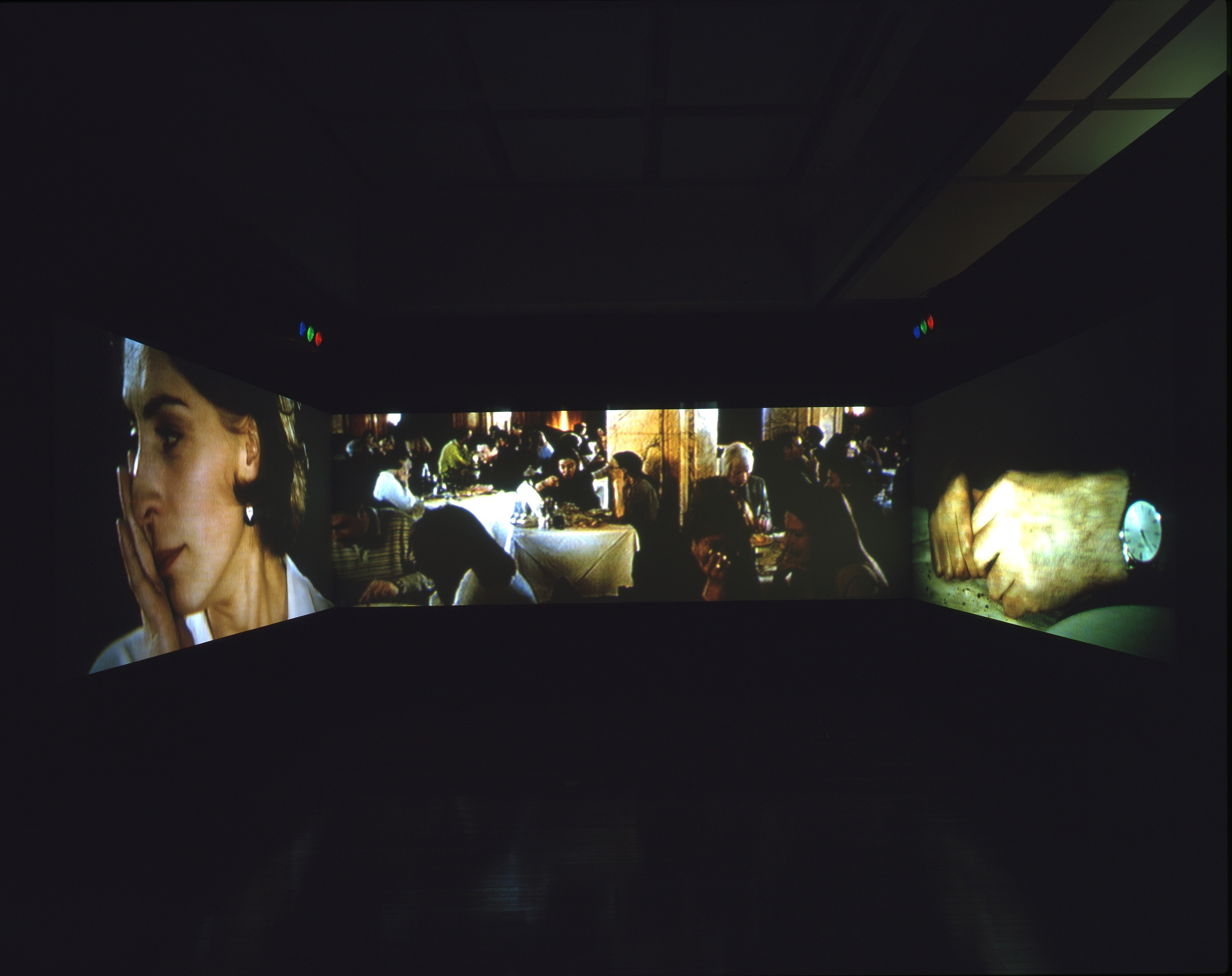 Museum of Contemporary Art, Tokyo, 10 Oct.–13 Dec. 1998, showing Sam Taylor-Wood, <i>Atlantic</i>, 1997, three screen projection with sound, dimensions variable