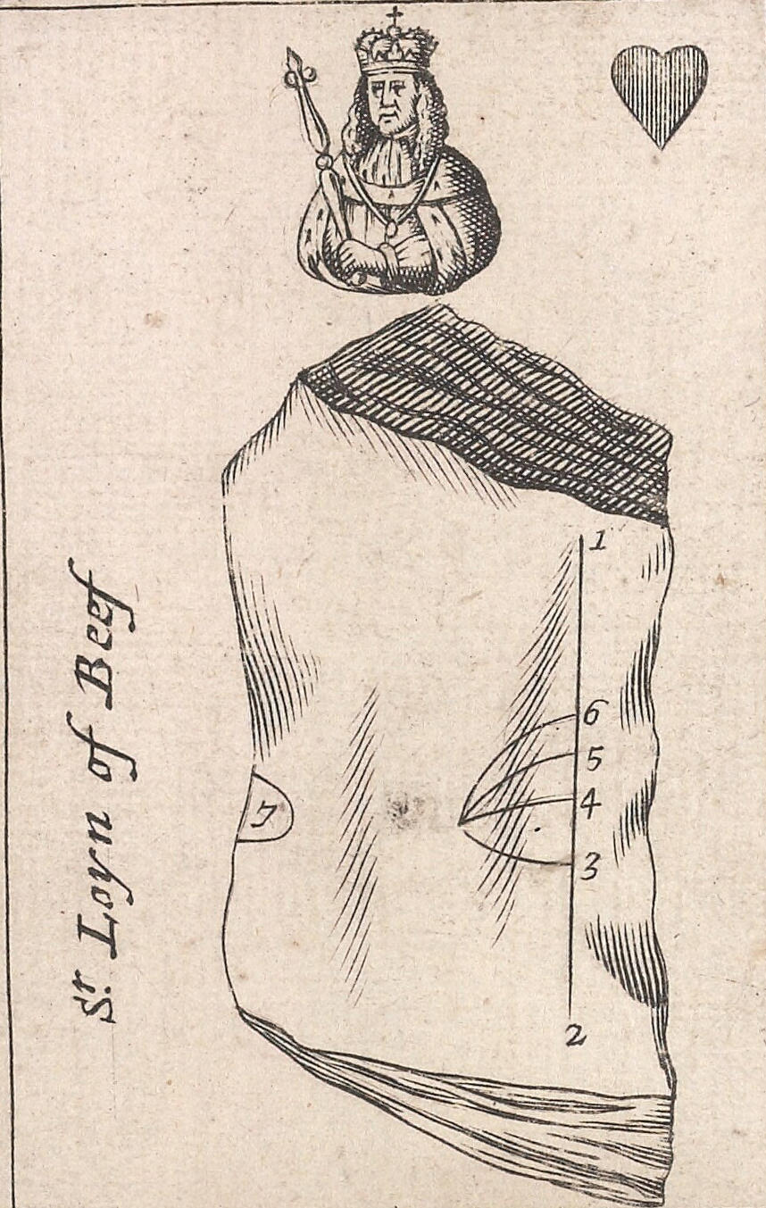 Or, <i>The mode of Carving at the Table</i> represented in a pack of playing cards (four of a set), 1693, playing cards, 15 cm. Collection of Beinecke Rare Books & Manuscript Library, Yale University (UvL50 693G).