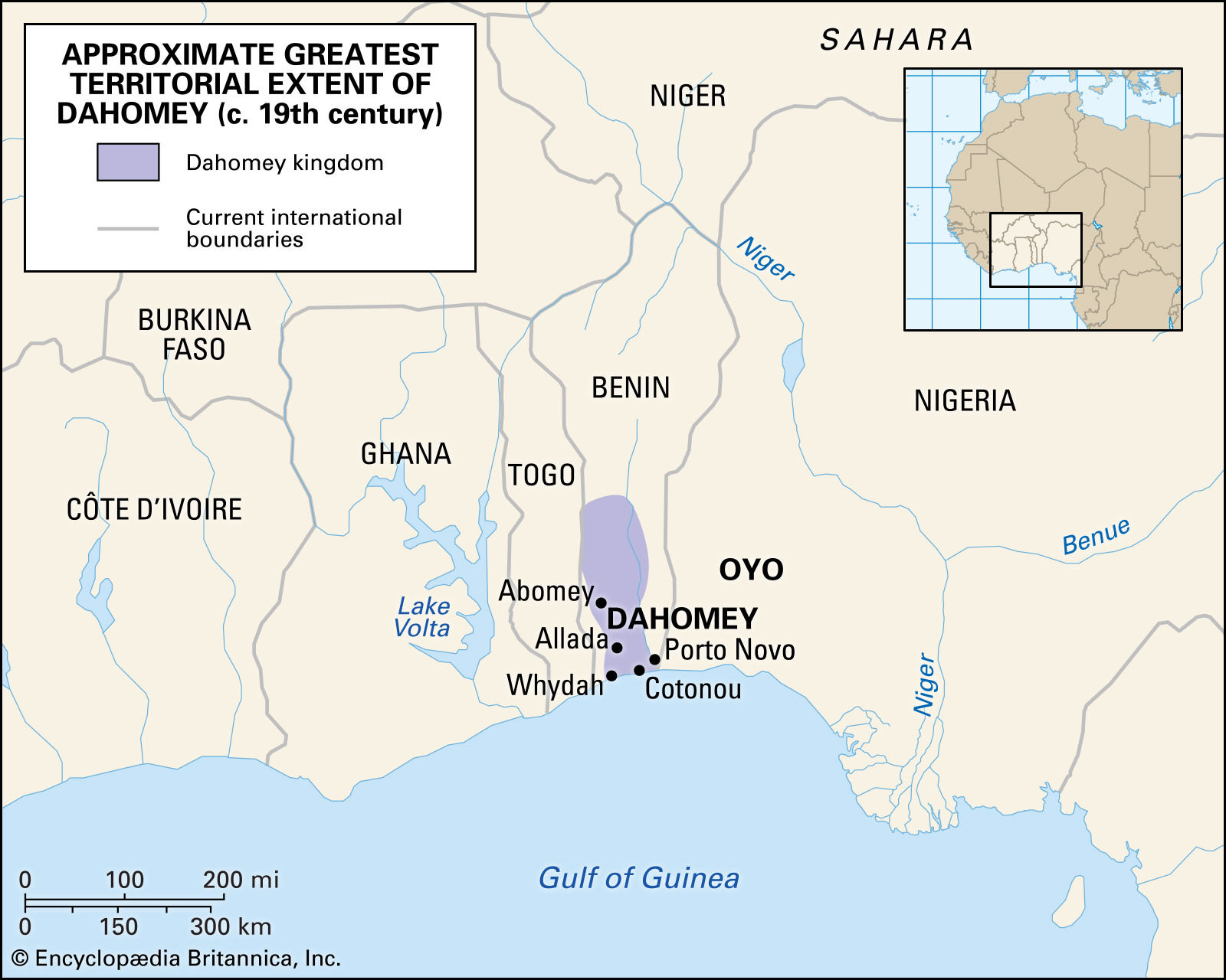 "Western Africa in Britannica, The Editors of Encyclopaedia. ""Dahomey"". <em>Encyclopedia Britannica</em>, 30 May 2019."