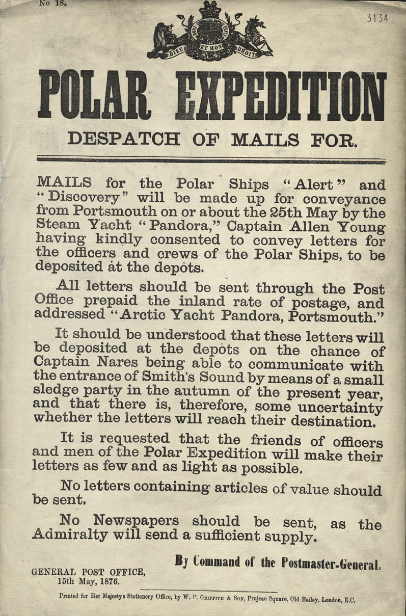 Poster for mail deliveries to the British Arctic Expedition