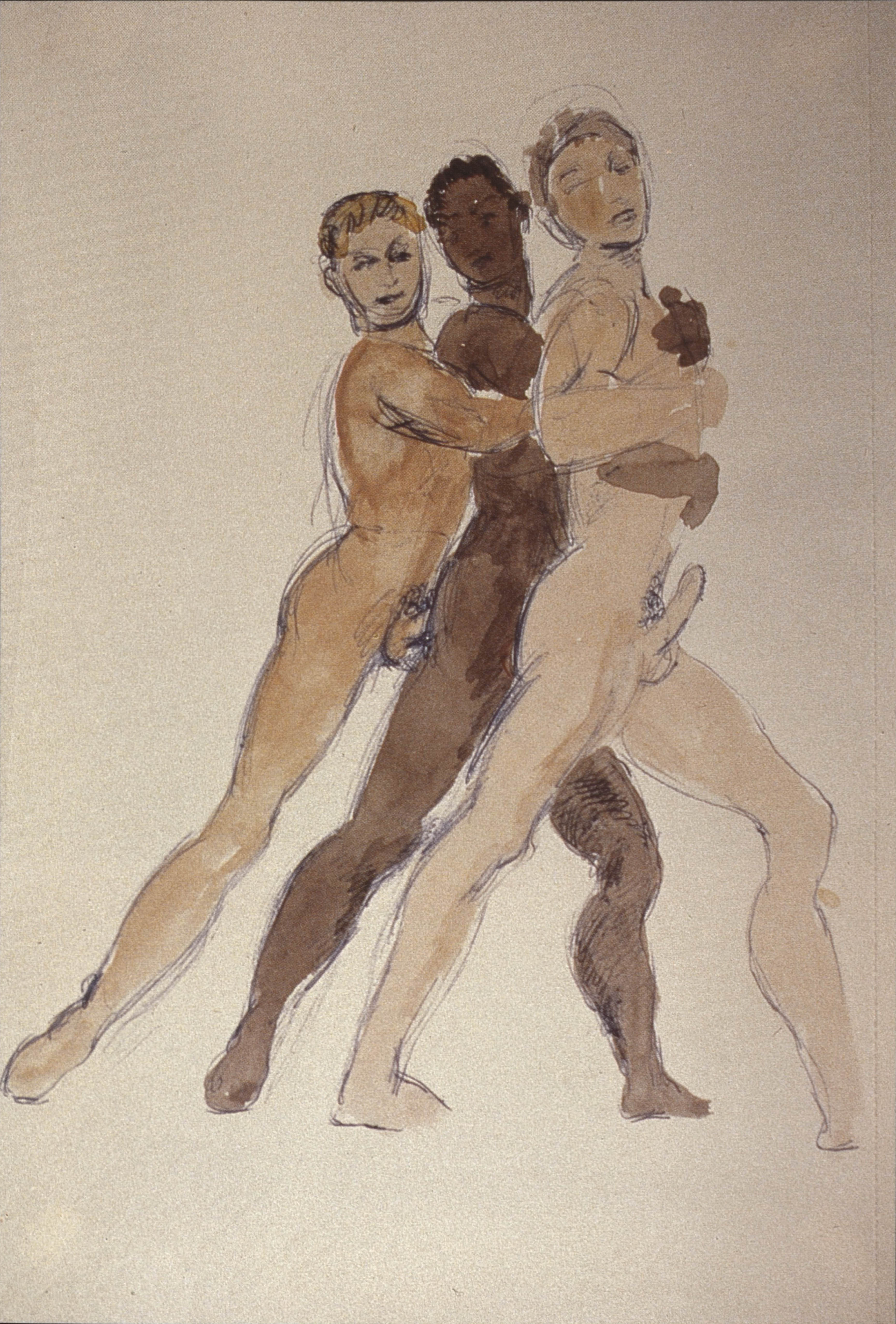 date unknown, ballpoint pen and watercolour on paper, 25 x 17 cm. Collection of John Whyte and Tom Wilson Weinberg, USA