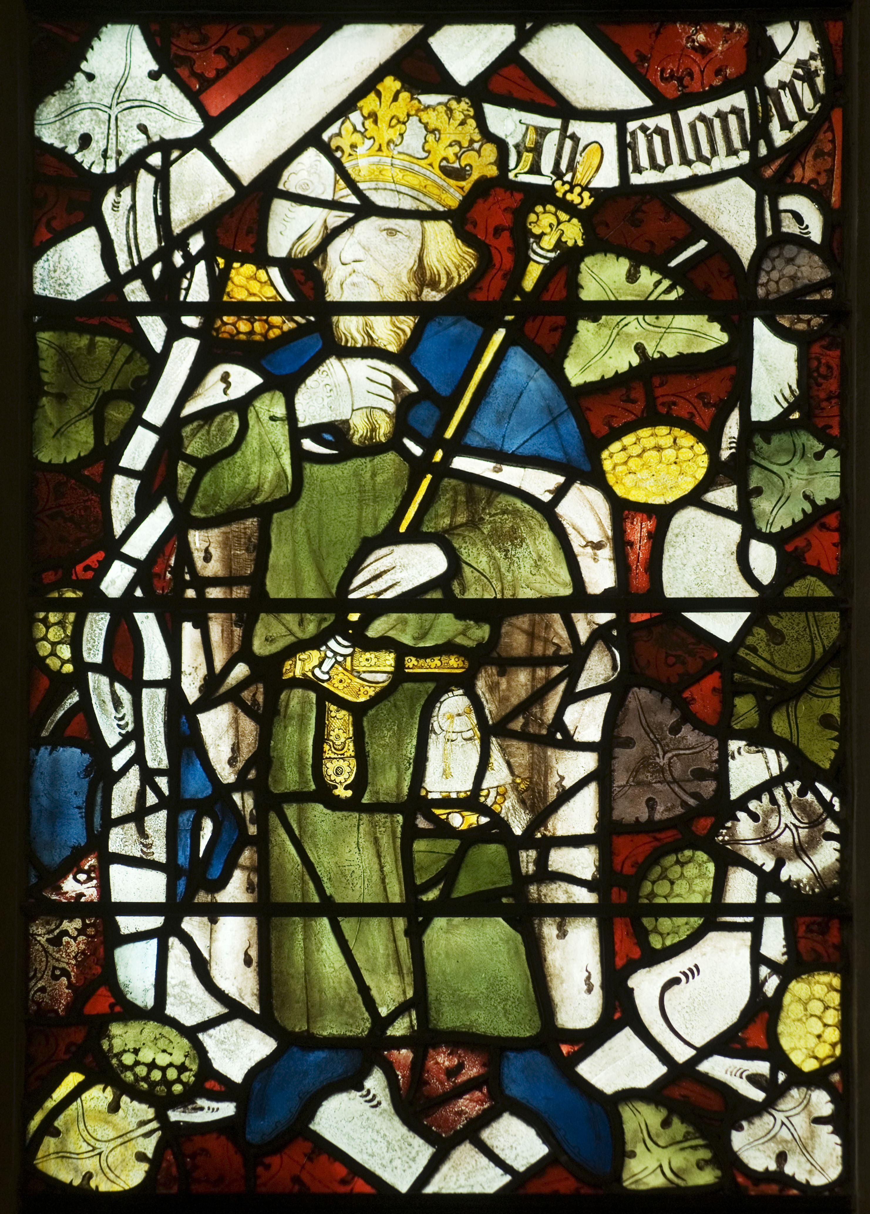 <i>fragment of the stained glass from the original east window of the chapel</i>, 1387–1395.