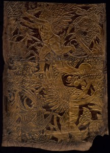 embossed leather with brown-and-gold lacquer, painted by Crane, 79.4 x 59.1 cm. Victoria and Albert Museum, London
