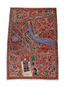 2011, hand-knotted carpet with dyed-wool embroidery, 350.5 x 238.7 cm. Collection of AMA Foundation, Chile.