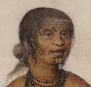 "Wife of an Indian ""Werowance"" or chief of Pomeiooc and her daughter (detail)"