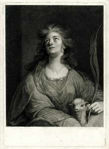 1787, engraving and etching, 39.8 x 27.4 cm. Collection of the British Museum, London (1833,0715.62). The exact object shown in the British Institution loan exhibition of 1823 as no. 8, <i>Saint Agnes</i>, was Sir Joshua Reynolds, <i>Mrs. Quarrington</i>, 1772. Oil on canvas, 76 x 63 in. Private collection. Mannings no. 1504. An image of this work could not be located; it is here represented by an engraving after it