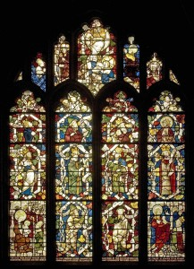 <i>west window of Thurbern's Chapel, fragments of the stained glass from the original east window of the chapel</i>, 1387–1395.