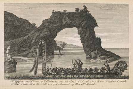 <i>with a War Canoe under a natural-arched Rock</i> from <i>The London Magazine</i>, 42, August 1773, facing p. 369, engraving, 9.5 x 15.4 cm. Collection The British Library (P.P. 5437).