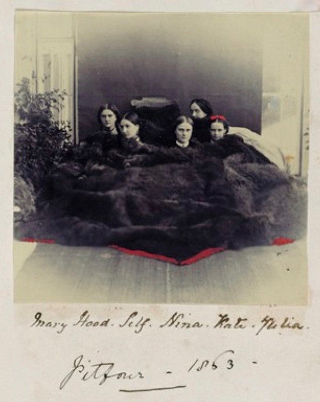 Page from album featuring photograph of Mary Hood, Self (Lady Filmer), Kate Julia