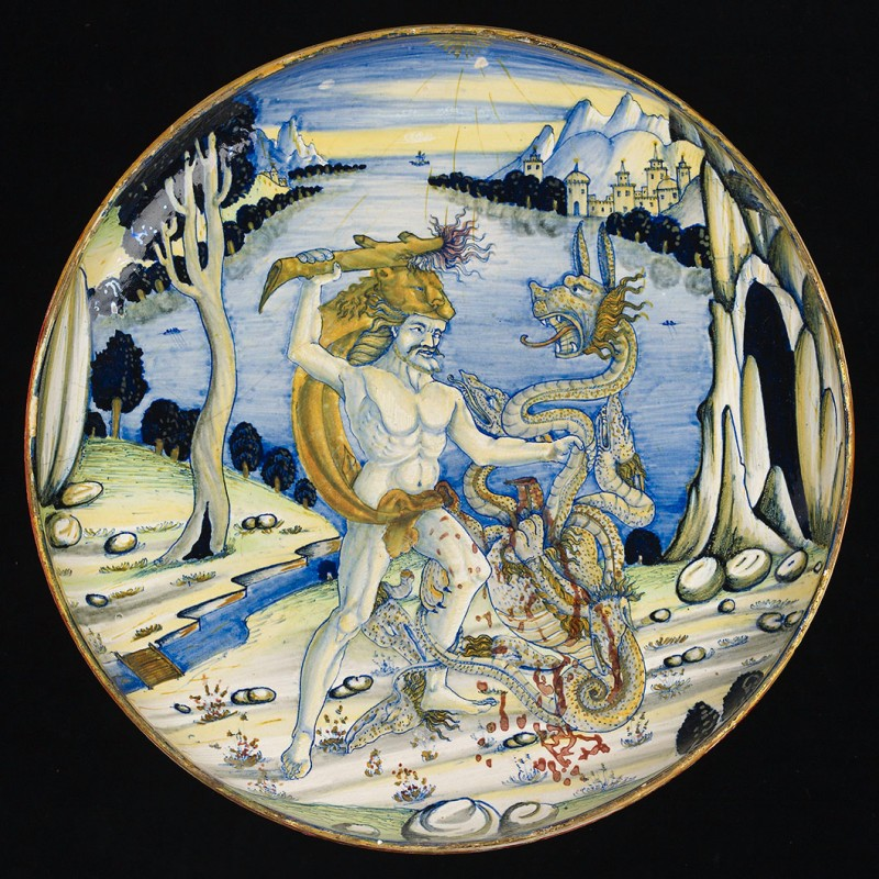 tin-glazed earthenware (maiolica), lustred, 32.2 cm. diameter. Ashmoleum Museum, Oxford. Bequeathed by C. D. E. Fortnum, 1899