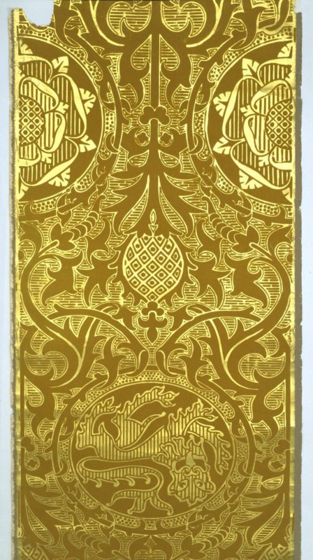 woodblock print and gold flock, 154.8 x 55.2 cm. Victoria and Albert Museum, London