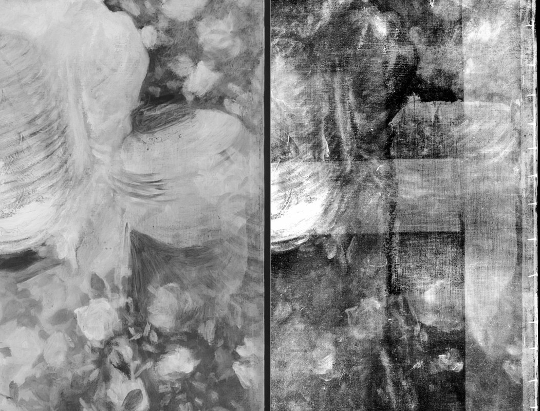 "<i>showing position and shape alterations in infrared photograph and X-radiograph</i>, from <i>""Carnation, Lily, Lily, Rose""</i>, 1885–86, oil on canvas, 218.5 x 197 cm"