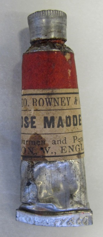 One tube of rose madder paint from Sargent's paint box