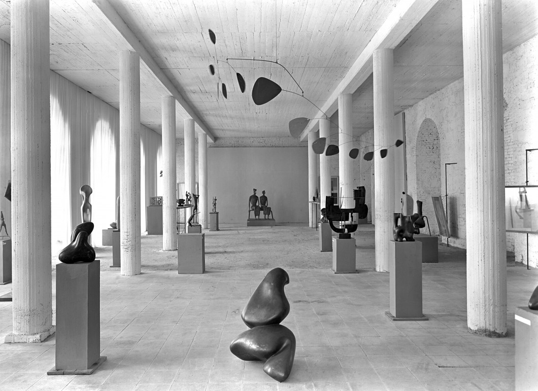 at documenta I, Kassel, Germany, 1955, (showing works by artists including Arp, Laurens, Calder, Moore)