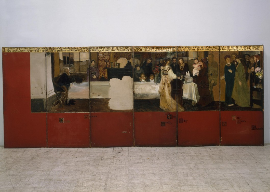 1870–1871 (unfinished), oil on canvas on wood frame, six hinged panels, each 182.9 x 78.7 cm. Collection of Victoria and Albert Museum, London (W.20-1981).