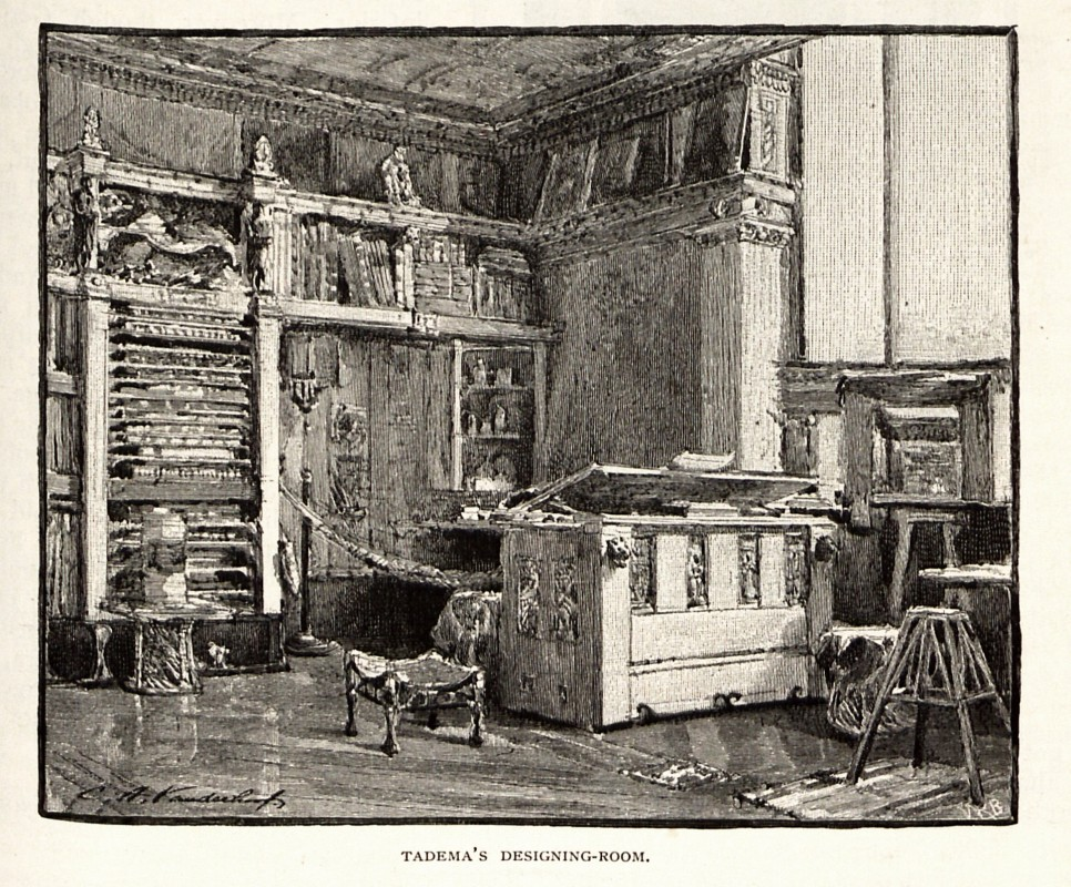 "in ""Some English Artists and Their Studios"" by Cosmo Monkhouse, <i>The Century Illustrated Monthly Magazine</i> 24 (1882): 567."