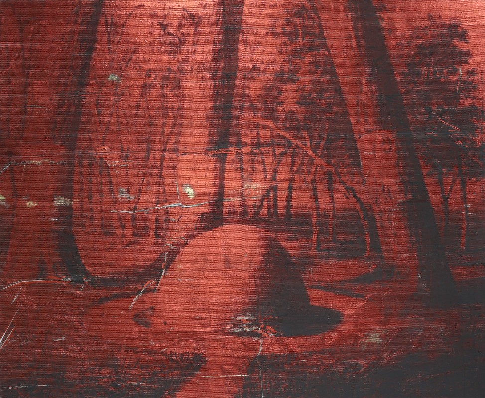 Monochromatic red landscape