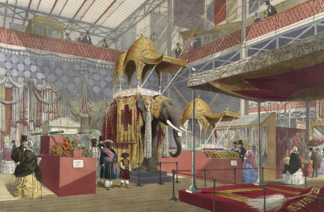 Interior depicting elephant as an exhibit at centre with onlookers