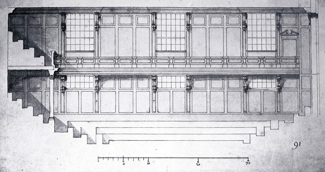 Longitudinal section of proposed alterations to the Chamber of the House of Commons