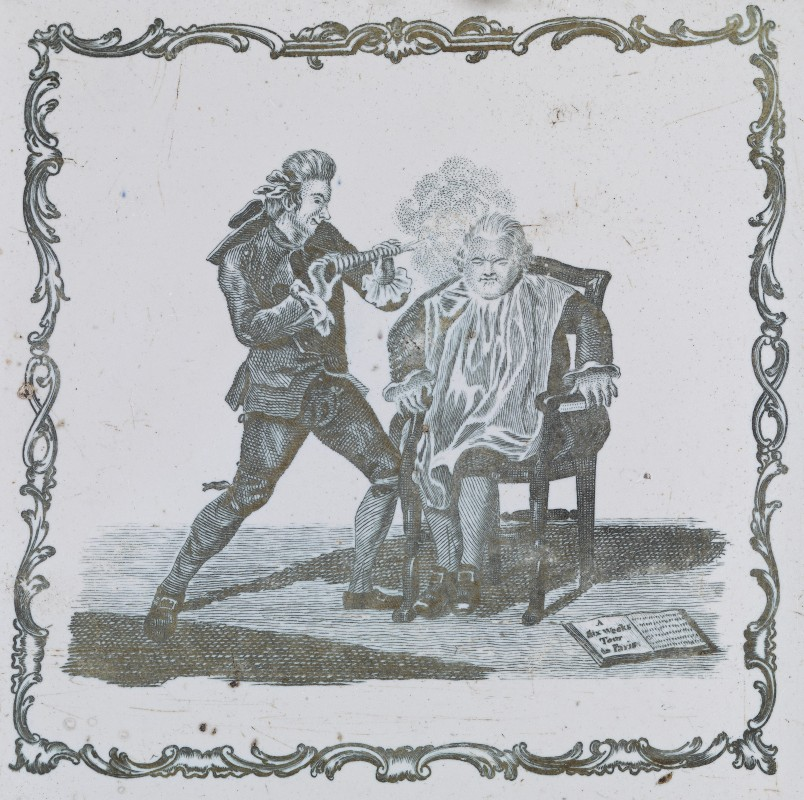 Liverpool (manufacturer), after the etching and engraving by James Caldwell (printmaker), <i>The Englishman in Paris</i>, published 10 May 1770 by J. Smith and Robert Sayer , ca. 1775, earthenware, 0.08 x 12.5 x 12.5 cm. Collection of National Gallery of Victoria, Melbourne, presented by Mr and Mrs F. Hodgkin, 1939(4656.72-D3).