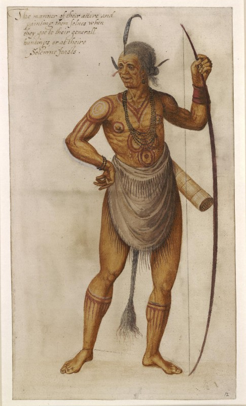 "An Indian ""Werowance"", or chief, painted for a great solemn gathering"