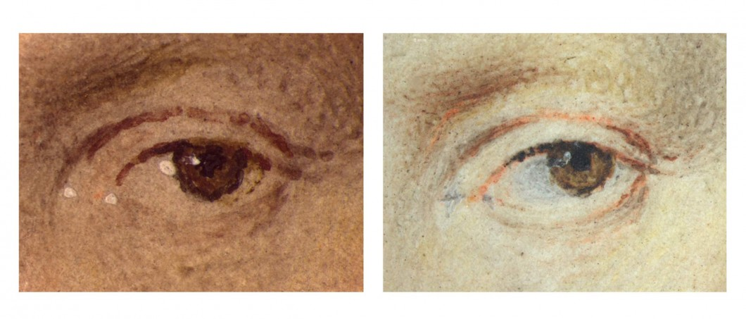 Microscopic detail of eyes in Figures 3 and 4