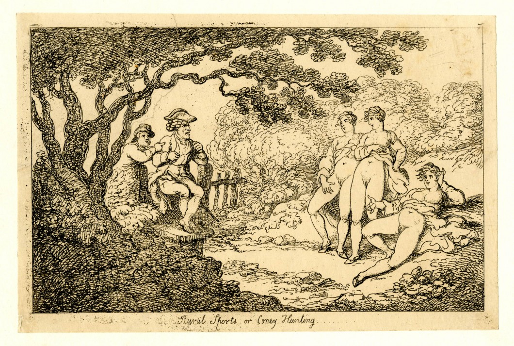 Thomas Rowlandson (draftsman and printmaker), Rural Sports or Coney Hunting, c. 1790-1810, etching, 14.7 x 22.2 cm (trimmed). Digital image courtesy of The Trustees of the British Museum (CC BY-NC-SA 4.0).