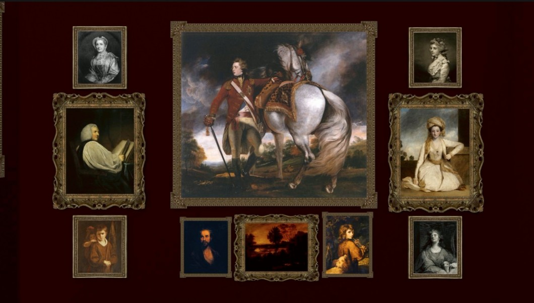 a possible hanging arrangement of works by Joshua Reynolds displayed on the North Wall of the British Institution's exhibition <i>Pictures by Sir Joshua Reynolds, with a Selection from the Italian, Spanish, Flemish, and Dutch Schools</i>, 1823