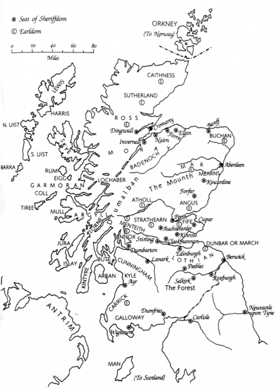 <i>indicating earldoms and sheriffdoms</i>, from <i>Robert the Bruce, and the Community of the Realm of Scotland</i> by Geoffrey Barrow, 3rd edn (Edinburgh, 1988).