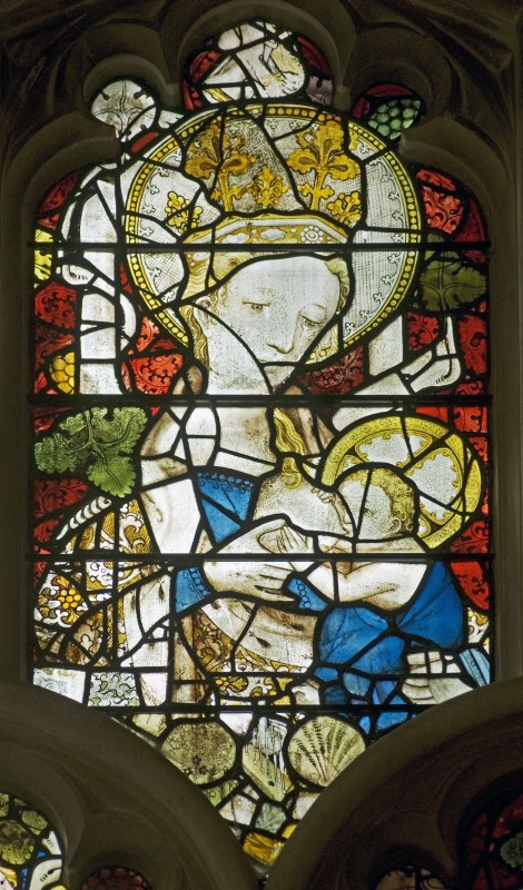 <i>fragment of the stained glass from the original east window of the chapel, figure of the nursing Virgin</i>, 1387–1395.