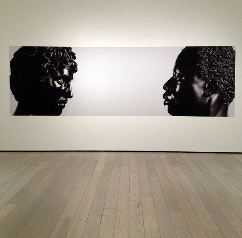 installation view of photograph of Antico [Pier Jacopo Alari-Bonacolsi], <i>Bust of a Young Man</i>, the J. Paul Getty Museum, Los Angeles; Francis Harwood, <i>Bust of a Man</i>, the J. Paul Getty Museum, Los Angeles. chromogenic print, 165.1 x 485.14 cm.